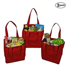 Simple Ecology Organic Cotton Deluxe Reusable Grocery Bag with Bottle Sleeves - Red (3 Pack)