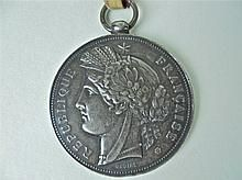 French Silver Medal and Ribbon, 19th C. WWW.JJAMESAUCTIONS.COM