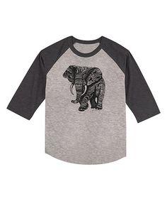 Look what I found on #zulily! Heather Smoke Elephant Raglan Tee - Toddler & Girls #zulilyfinds