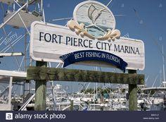 Florida Fort Ft. Pierce Indian River Fort Pierce City Marina Sign Stock Photo, Royalty Free Image: 23731401 - Alamy