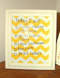 A Case of the Yellows: Dry Erase Fabric Frames