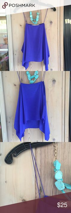 RORY BECA indigo blouse Thin material, thin straps, beautiful color. Small imperfection (see photos). Necklace not included. Rory Beca Tops Blouses