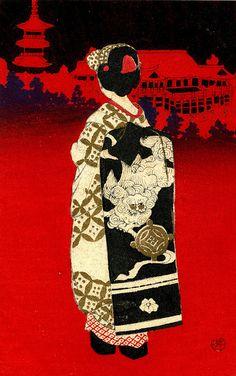 Woodblock Print Postcard - Shi Shi Obi 1945 by Blue Ruin1, via Flickr