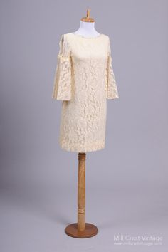 1960 Ivory Lace Wedding Party Dress : Mill Crest Vintage