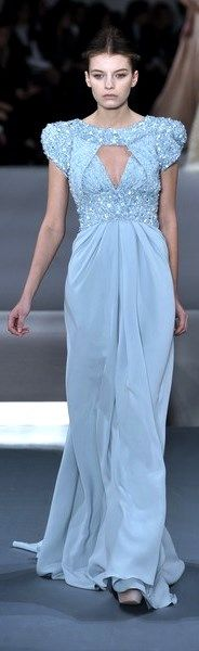 ELIE SAAB Spring 2009 collection | blue cut-out | cap sleeves | beaded | sequin-studded | sheath | evening gown | high fashion
