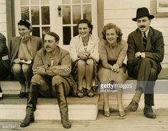 Mrs Robert Skene, wife of the English player; Lord John Cowdray, and his fiance Lady Anne Bridgeman; Miss Daphne Pierson and the Duke of Roxburghe, all of London, England, watch the English team in a test match at Roslyn, Long Island, NY