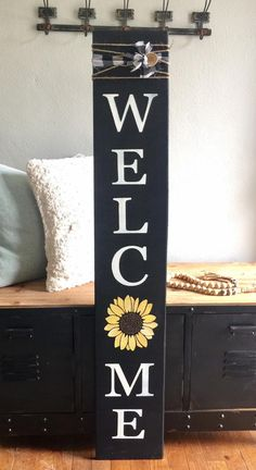 Excited to share this item from my #etsy shop: wooden welcome sign, porch sign, sunflower welcome sign, spring welcome sign, summer welcome sign, rustic farmhouse decor, porch sign #farmhousedecor