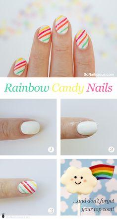 Rainbow candy nails nail art how to #DIY #nails