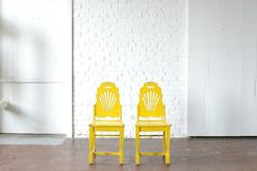 Happy Yellow Chairs: Adorable wooden chairs painted a happy and bright yellow!  Beautiful hand-carved detailing on the back. *Paisley & Jade Vintage & Specialty Furniture Rentals for Events, Weddings, Theatrical Productions & Photo Shoots*
