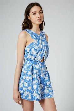 TOPSHOP Structured Palm Playsuit