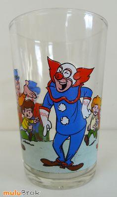 Verre BOZO le clown  Larry Harmon's Junior Productions. Année 1975. Verre moutarde sur www.mulubrok.fr ...