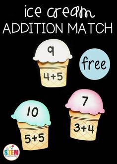 Fun summer addition math game! This ice cream addition match is a great way for students to solve addition facts to 10 and build up their fact fluency in a fun, hands-on way at a math center this fall when we go back to school . Or tan easy practice math activity for kindergarten and first grade this summer! #mathpracticegames