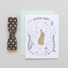 Winter Hare Holiday Christmas Card bunny illustration