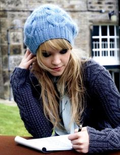 Kim Hargreaves pattern- have knitted this hat for a friend before, think I need one for me in this powder blue! So pretty! :)