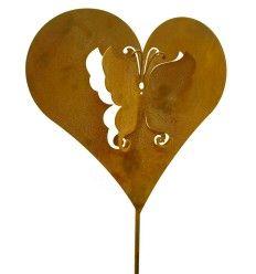 Rost Herzstecker mit Schmetterling innen 20 cm breit (klein)