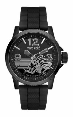 Marc Ecko Men's E11587G1 The Flint 3 Hand Movement Black Dial Watch Marc Ecko. $90.93. Water-resistant to 165 feet (50 M). Black IP case. Black dial with applied black running rhino graphics. Three hand movement. Black resin strap