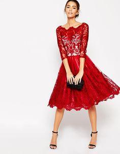 Image 4 ofChi Chi London Premium Lace Midi Prom Dress With Bardot Neck And 3/4 Sleeve