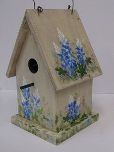 Bluebonnets On White Decorative Birdhouse Painted By Jimmie