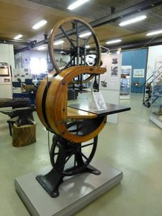 1906 laminated wooden bandsaw frame at the Motala Verkstad museum