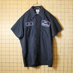 古着 70s USA製 BICMAC ボックス ワーク シャツ ワッペン 刺繍 半袖 ネイビー メンズML相当 JCPenney