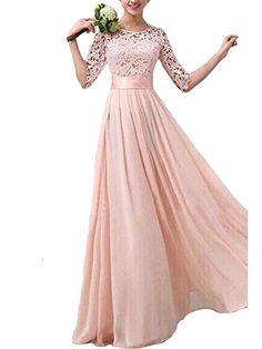 3f9aa9602d0 Kufv Women Crochet Lace 1 2 Sleeve Tunic Bridesmaid Formal Gown Chiffon  Long Dress KUFV