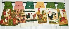Hanging Kitchen Towel, Rooster Themes #Handmade #Kitchentowel