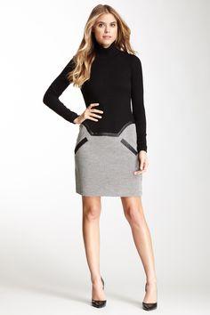 Ribbed Turtleneck with Tweed Dress
