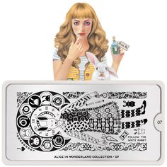 MoYou-London Stamping Nail Art Image Plate Alice Collection Meet Alice, Her imagination takes her stamping to another level! Come join her adventures in wonderland. Moyou Stamping, Nail Art Stamping Plates, Nail Plate, Alice In Wonderland Nails, Adventures In Wonderland, London Nails, Nail Art Images, Image Plate, Latest Nail Art