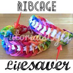 Original TutorialsByA Rainbow Loom Bracelet Designs: Rib Cage and Lifesaver