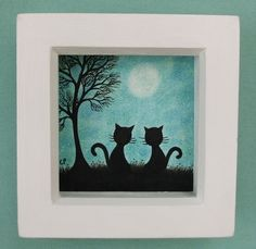 #Cat Picture: Cat #Art, Black cats #Drawing, Cat #Gifts, Cat Tree Moon, Framed Cats £15.00