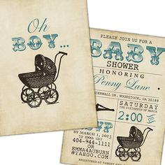 Vintage Stroller Baby Boy Shower Invite - Blue, Brown, Tan, Rustic, Grungy, Antique Pram Baby Stroller