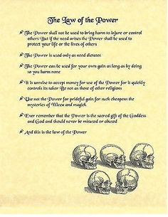 Book of Shadows Spell Pages ** Law of the Power ** Wicca Witchcraft BOS