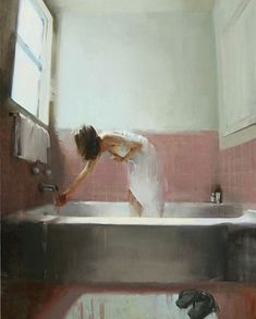 art contemporain ∇ by artist kim cogan (peinture painting scene interieure intimist interior scene salle de bain bathroom palette blanc rose white pink) Art And Illustration, Figure Painting, Painting & Drawing, Woman Painting, Painting Inspiration, Art Inspo, Figurative Art, Oeuvre D'art, Art Reference