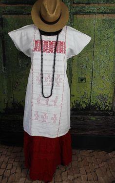 Red & White Huipil Dress Hand Woven Cotozocon Oaxaca Mexico Hippie Boho Santa Fe #Handmade #HuipildressHuipil