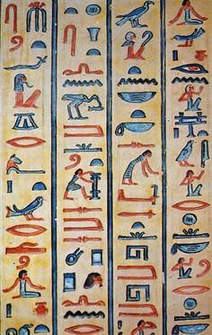 These are heiroglyphics made by the Egyptians. One thing heiroglyphics did was tell storys. Egyptian Mythology, Egyptian Art, Egyptian Hieroglyphs, Egyptian Things, Egyptian Themed Party, Ancient Egypt Art, Ancient Scripts, Alphabet, Images