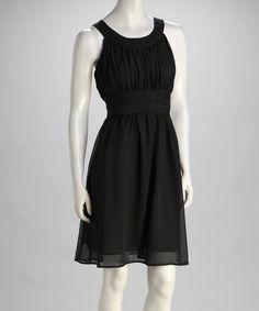 Black Gathered-Waist Yoke Dress | zulily