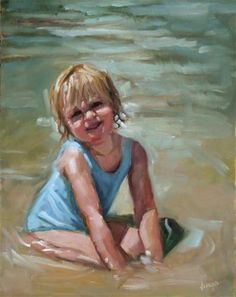 """Dani"" - Original Fine Art for Sale - © Dana Cooper Beach Kids, Beach Art, Art For Kids, Art Children, Painting People, We Are The World, Beautiful Children, Beautiful Paintings, Art For Sale"