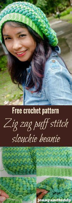 free crochet pattern zig zag puff stitch slouchie beanie hat by jennyandteddy