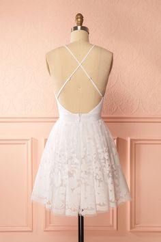 Filly Light White Velvet Pattern Short Party Dress | Boutique 1861