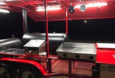 This BBQ pit smoker is a show stopper! You'll have plenty of space on this pull behind trailer to entertain any size crowd. Bbq Smoker Trailer, Bbq Pit Smoker, Bbq Grill, Barbecue, Grilling, Custom Bbq Smokers, Custom Bbq Pits, Smoker Designs, Bbq Equipment