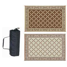 9 x 12 FT Reversible Outdoor Area Rug Patio Mat in Brown and Beige