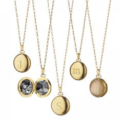 Can't decide between an initial necklace and a locket? Now you don't have to! This gorgeous pendant by designer Monica Rich Kosann features a two picture locket, with one size engraved with the initia