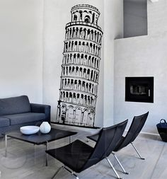 PIZA TOWER Barcelona Chair, Wall Sticker, House Warming, Lounge, Stickers, City Life, Furniture, Home Decor, Heart