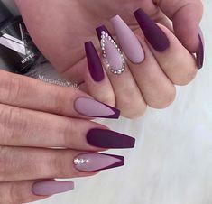 Light and Dark Purple Nail Art with Crystals Nails 41 Elegant Nail Designs with Rhinestones Dark Purple Nails, Plum Nails, Purple Nail Art, Burgundy Nails, Purple Hair, Dark Color Nails, Burgundy Nail Designs, Elegant Nail Designs, New Nail Designs