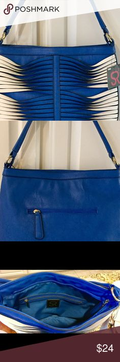 """Cobalt Blue/White Handbag, SR2 by Sondra Roberts Kept this in the closet for over a year but never used it.  Bought one in another color and never had so many compliments on a Handbag!.  Faux leather twisted blue white straps make it a stand out!  Approximately 13"""" w X 12"""" h  with a 9"""" single handle drop.  Back zippered outside pocket,  inside zippered and two open pockets. SR2 by Sondra Roberts Bags Shoulder Bags"""