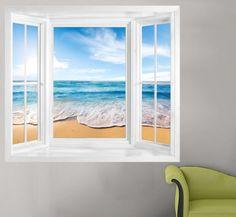 Ocean view window frame wall mural