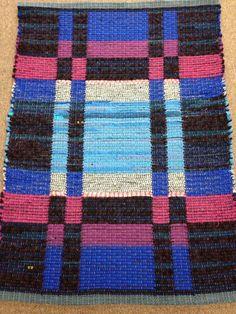 """Delphinium"" 32"" X 44"" Wool blend recycled fabrics"