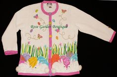 Jack B Quick Berek Easter Bunny Rabbits Eggs Beaded Sweater Medium M JBQ | eBay $39.99