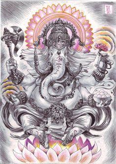 "Ganesha is defined as Omkara or Aumkara, that is ""having the form of Om (or Aum). In fact, the shape of his body is a copy of the outline… Ganesh Tattoo, Hindu Tattoos, Arm Tattoos, Sleeve Tattoos, Symbol Tattoos, Buddha Tattoo Design, Arte Ganesha, Lord Ganesha, Shri Ganesh"