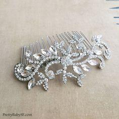 Large Silver bridal comb, wedding comb,hair comb,bridal hair comb, garden wedding,silver,wedding leaves foliage crystal rhinestone BRANCH